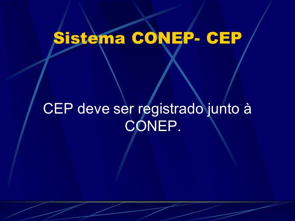 CEP deve ser registrado junto à CONEP.