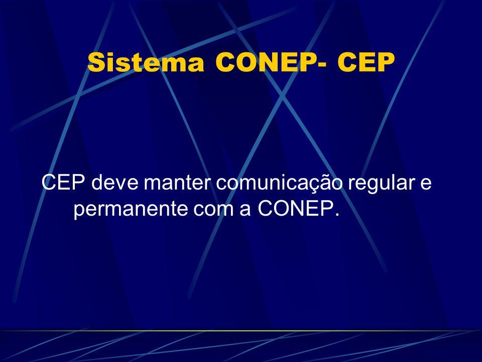 Sistema CONEP- CEP CEP deve manter comunicação regular e permanente com a CONEP.