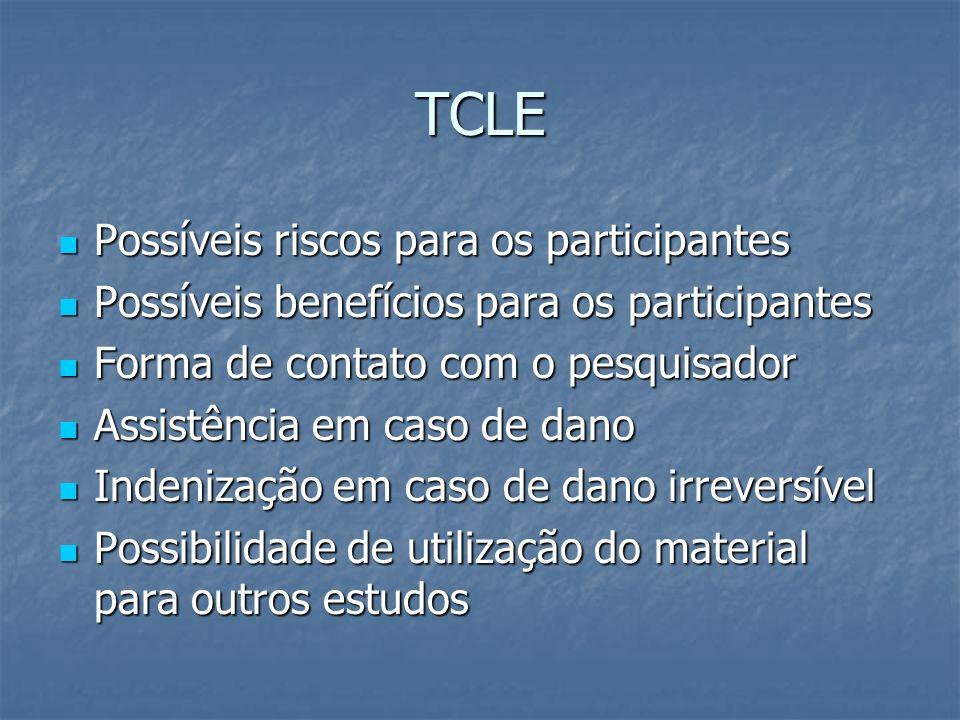TCLE Possíveis riscos para os participantes