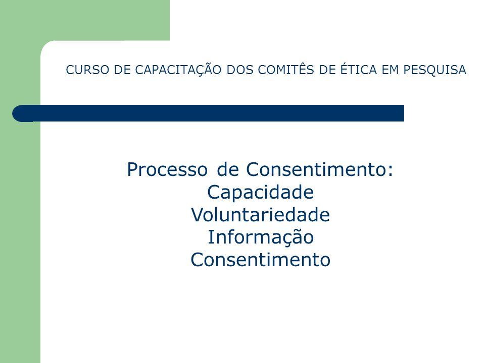 Processo de Consentimento: Capacidade Voluntariedade Informação