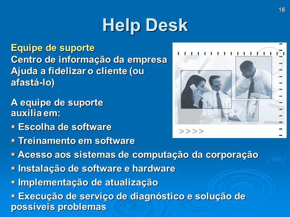 Help Desk Equipe de suporte Centro de informação da empresa Ajuda a fidelizar o cliente (ou afastá-lo)