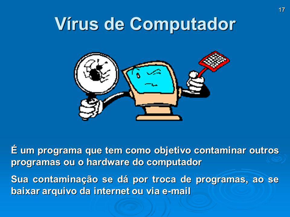 Vírus de Computador É um programa que tem como objetivo contaminar outros programas ou o hardware do computador.