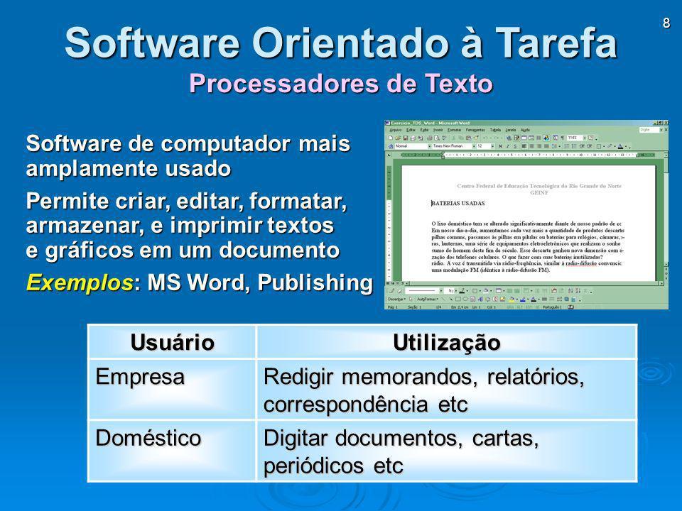 Software Orientado à Tarefa Processadores de Texto