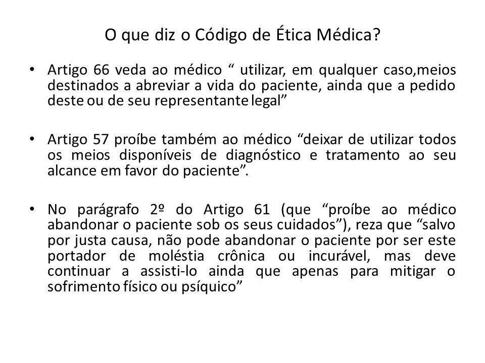 O que diz o Código de Ética Médica