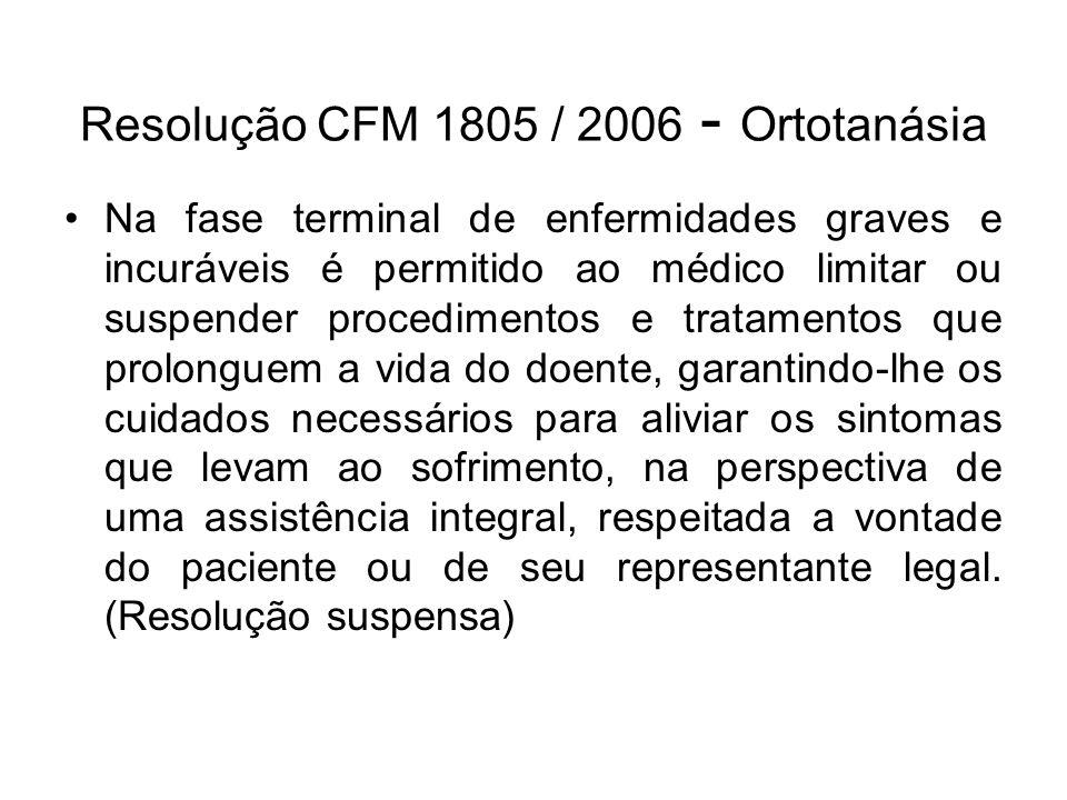 Resolução CFM 1805 / 2006 - Ortotanásia