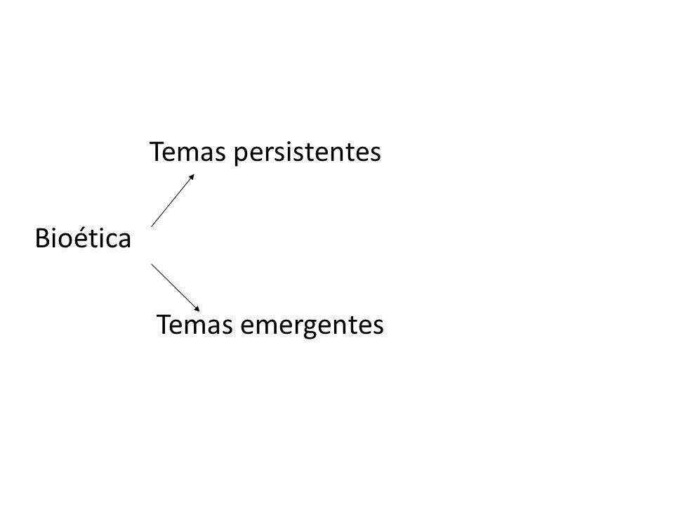 Temas persistentes Bioética Temas emergentes