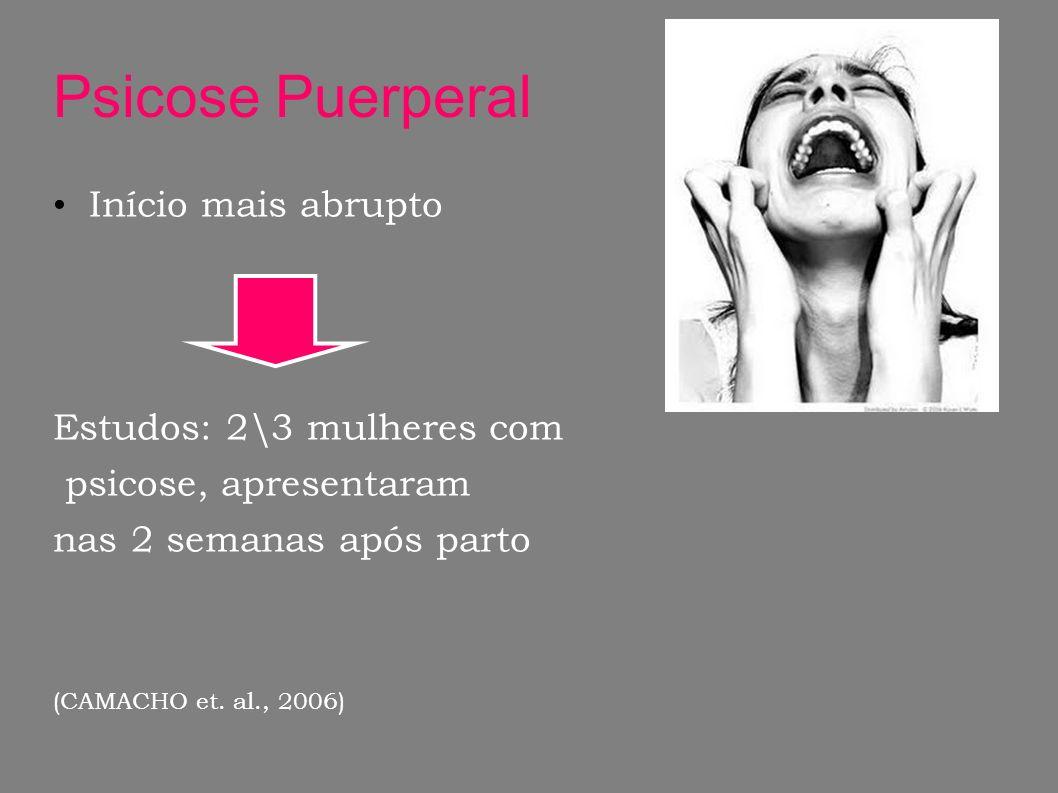 Psicose Puerperal Início mais abrupto Estudos: 2\3 mulheres com