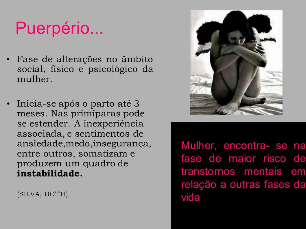 Puerpério... Fase de alterações no âmbito social, físico e psicológico da mulher.