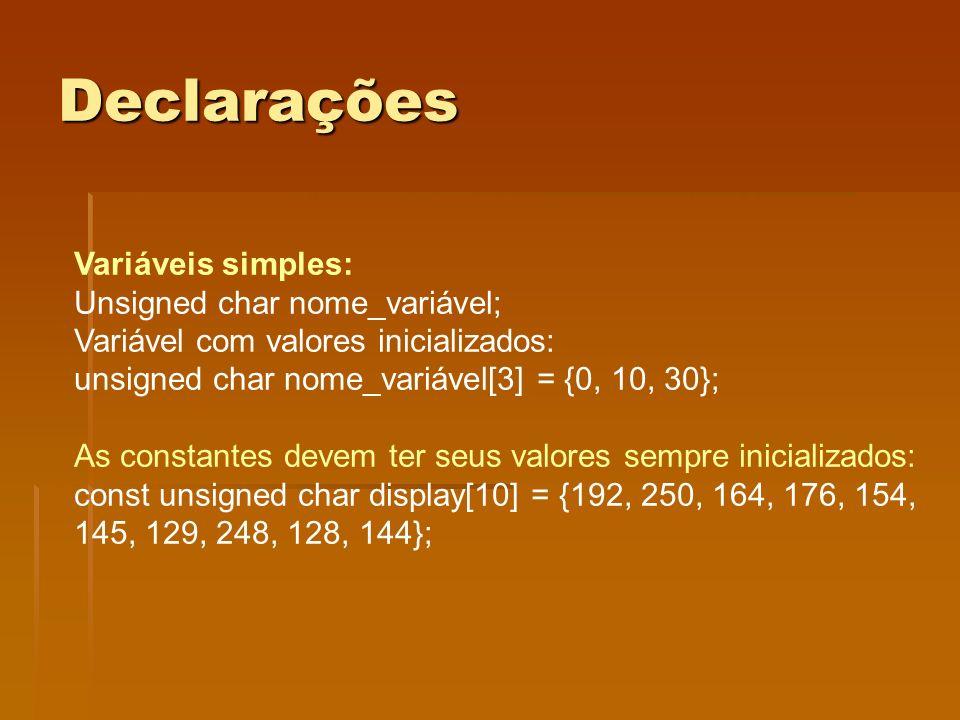 Declarações Variáveis simples: Unsigned char nome_variável;