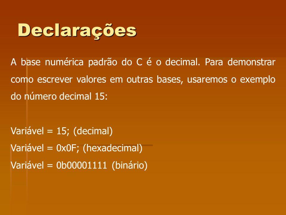 Declarações A base numérica padrão do C é o decimal. Para demonstrar como escrever valores em outras bases, usaremos o exemplo do número decimal 15: