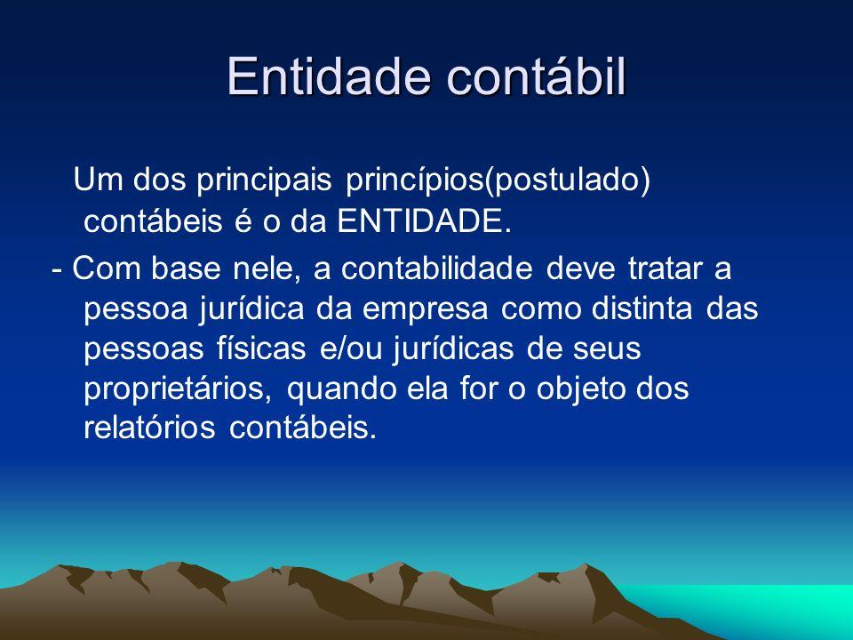 Entidade contábil Um dos principais princípios(postulado) contábeis é o da ENTIDADE.