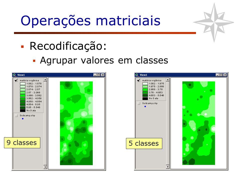 Operações matriciais Recodificação: Agrupar valores em classes