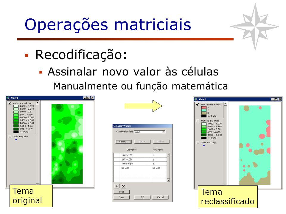Operações matriciais Recodificação: Assinalar novo valor às células