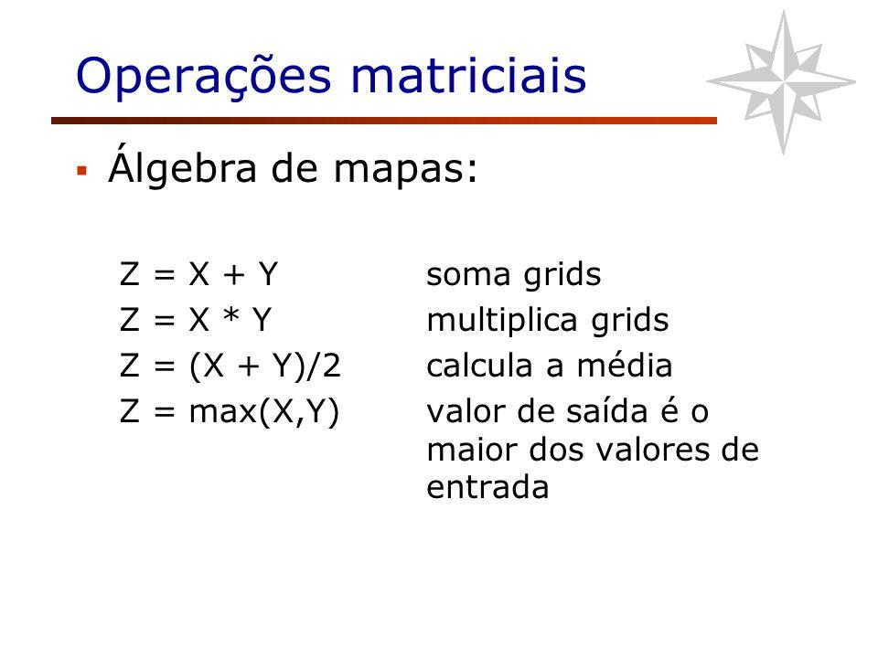Operações matriciais Álgebra de mapas: Z = X + Y soma grids