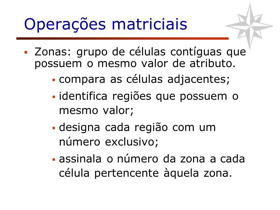 Operações matriciais Zonas: grupo de células contíguas que possuem o mesmo valor de atributo. compara as células adjacentes;