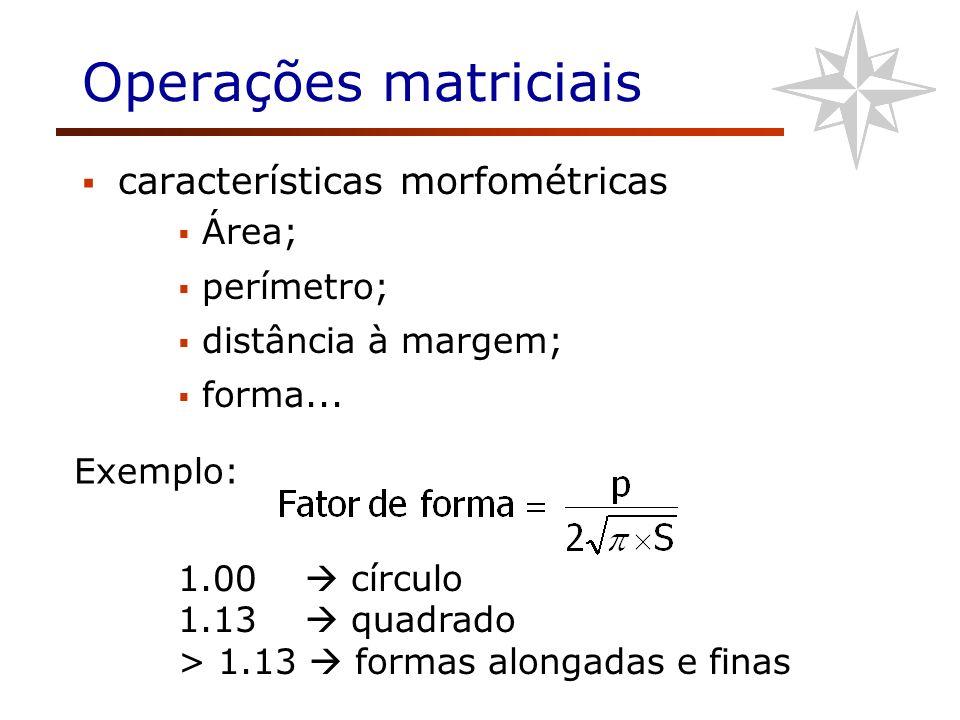 Operações matriciais características morfométricas Área; perímetro;