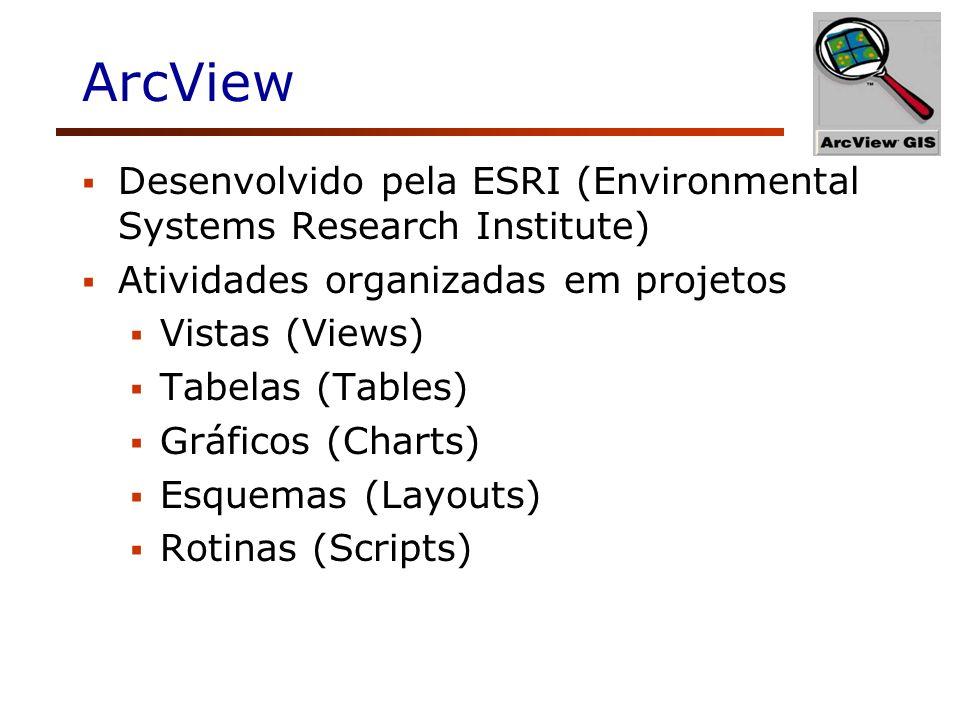 ArcView Desenvolvido pela ESRI (Environmental Systems Research Institute) Atividades organizadas em projetos.