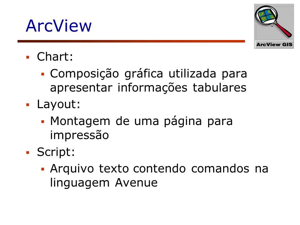 ArcView Chart: Composição gráfica utilizada para apresentar informações tabulares. Layout: Montagem de uma página para impressão.