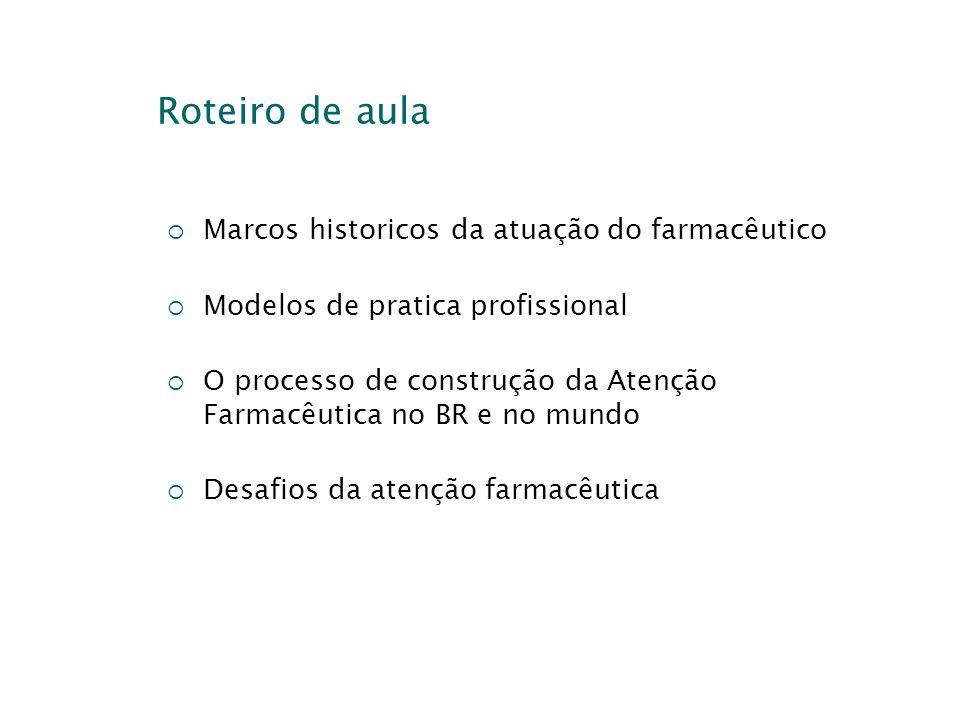 Roteiro de aula Marcos historicos da atuação do farmacêutico