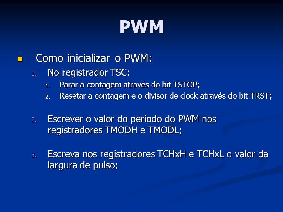 PWM Como inicializar o PWM: No registrador TSC: