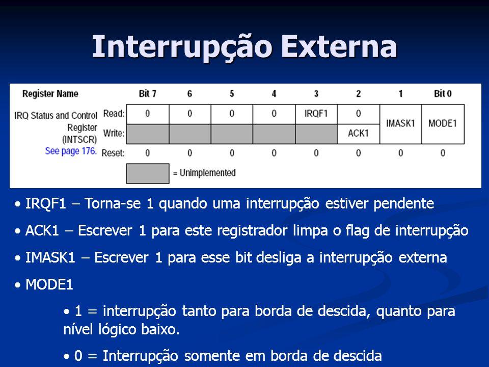 Interrupção Externa IRQF1 – Torna-se 1 quando uma interrupção estiver pendente. ACK1 – Escrever 1 para este registrador limpa o flag de interrupção.