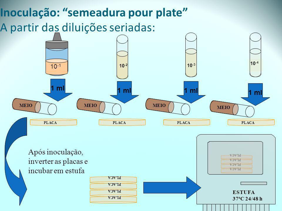 Inoculação: semeadura pour plate A partir das diluições seriadas: