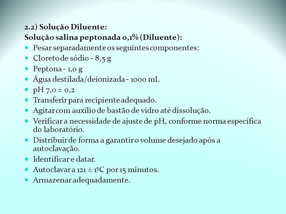 2.2) Solução Diluente:Solução salina peptonada 0,1% (Diluente): Pesar separadamente os seguintes componentes: