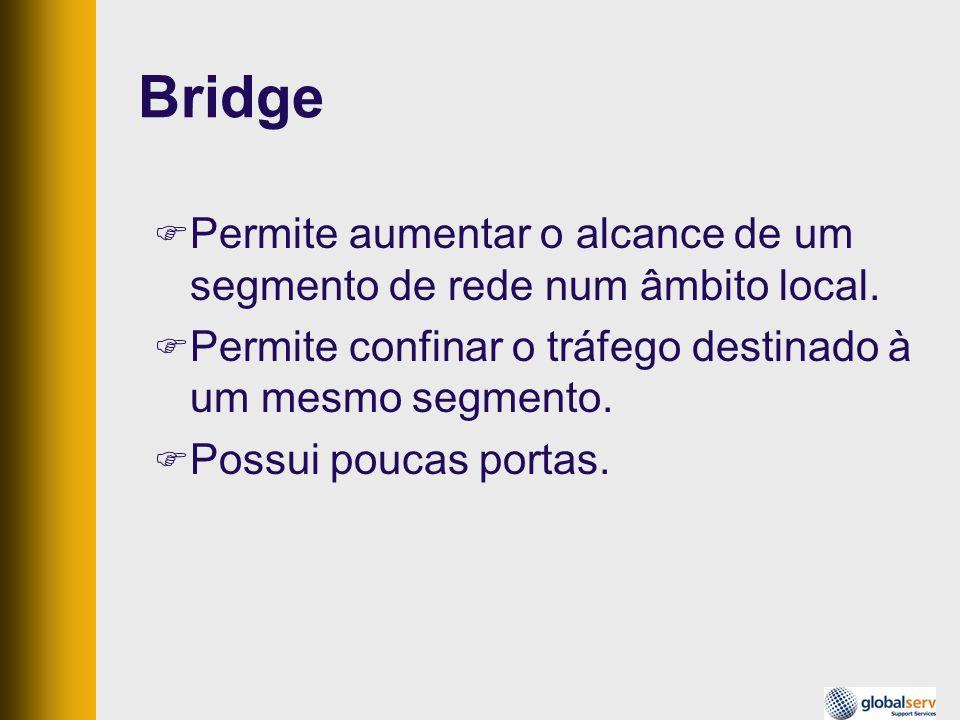 BridgePermite aumentar o alcance de um segmento de rede num âmbito local. Permite confinar o tráfego destinado à um mesmo segmento.