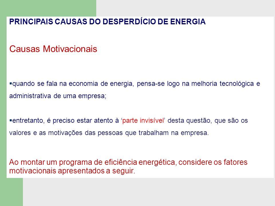 Causas Motivacionais PRINCIPAIS CAUSAS DO DESPERDÍCIO DE ENERGIA