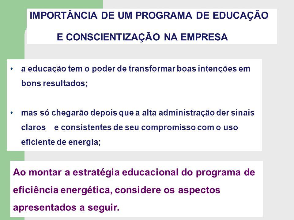IMPORTÂNCIA DE UM PROGRAMA DE EDUCAÇÃO E CONSCIENTIZAÇÃO NA EMPRESA