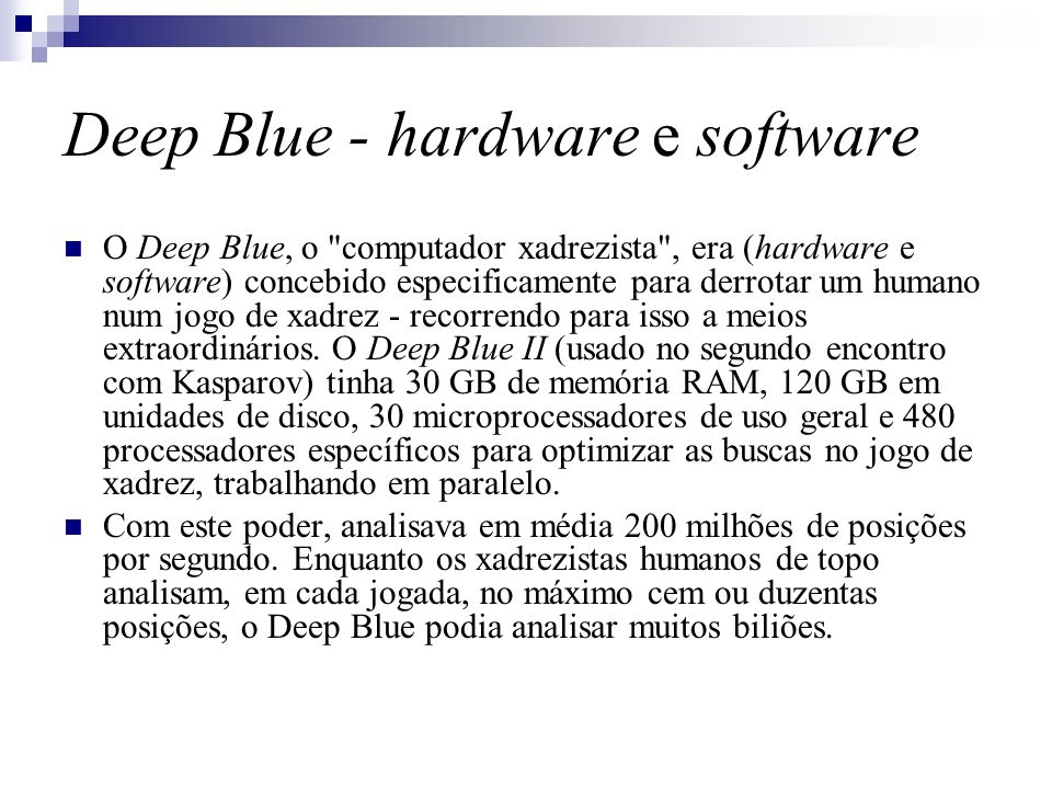 Deep Blue - hardware e software