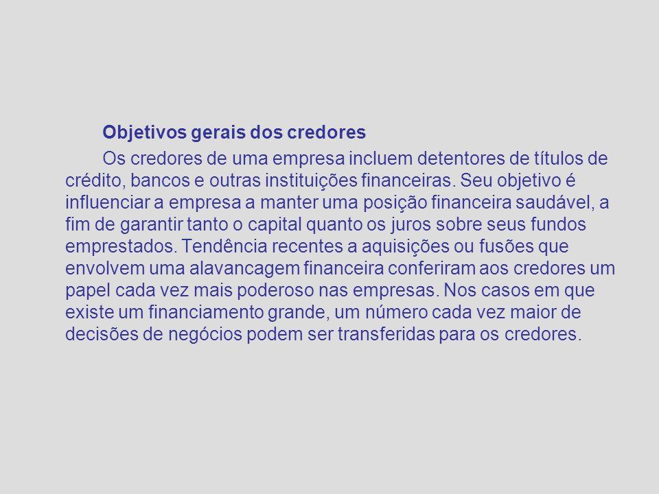 Objetivos gerais dos credores