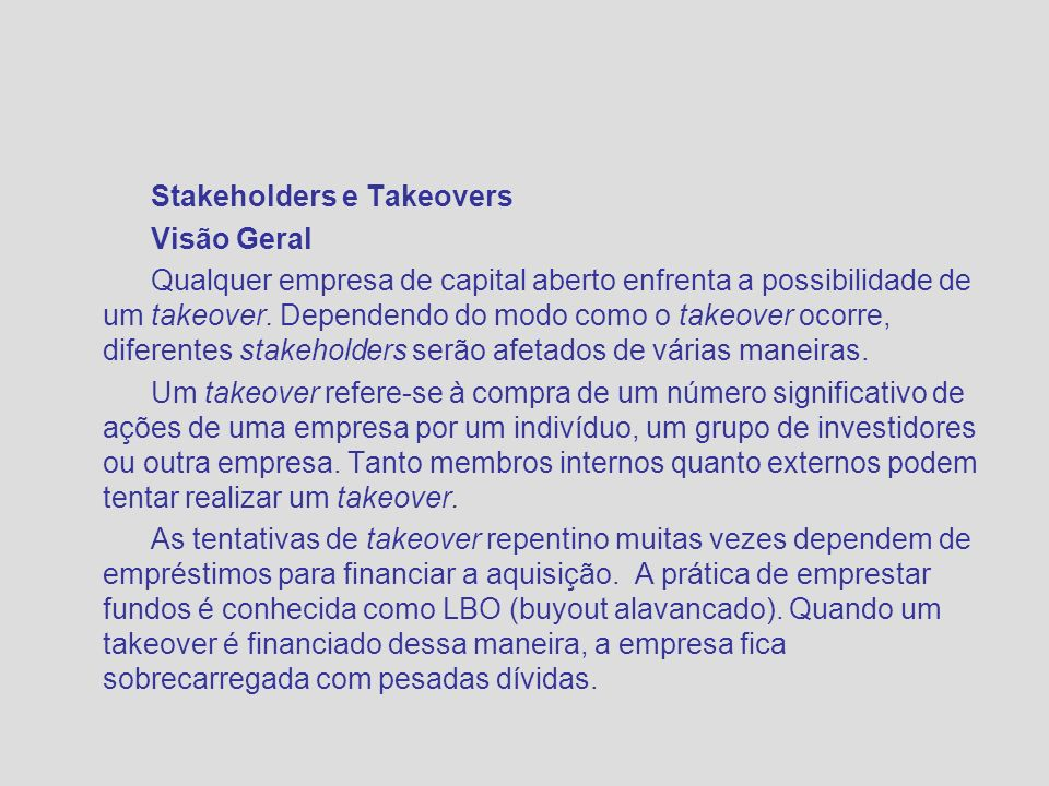 Stakeholders e Takeovers