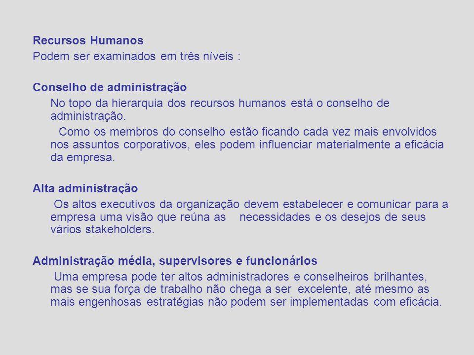 Recursos Humanos Podem ser examinados em três níveis : Conselho de administração.