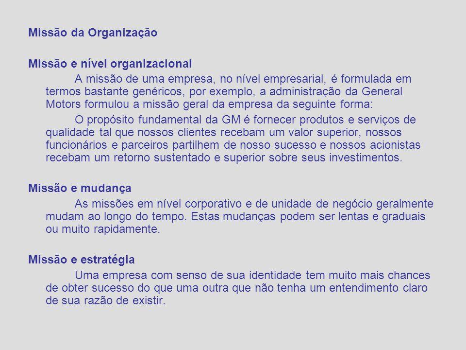 Missão da Organização Missão e nível organizacional.