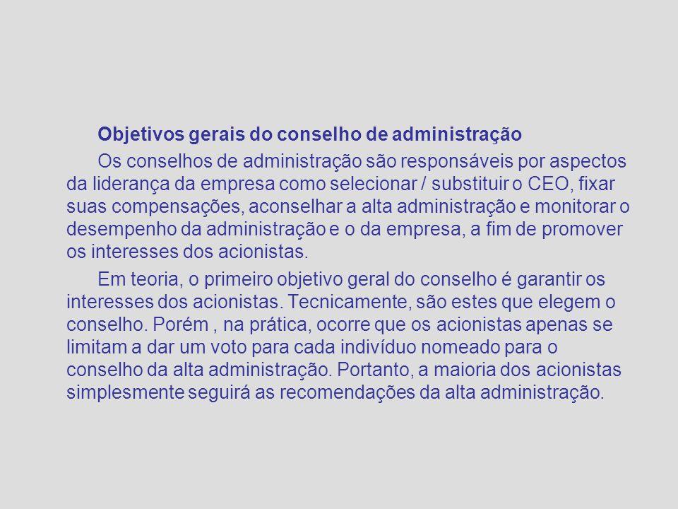 Objetivos gerais do conselho de administração