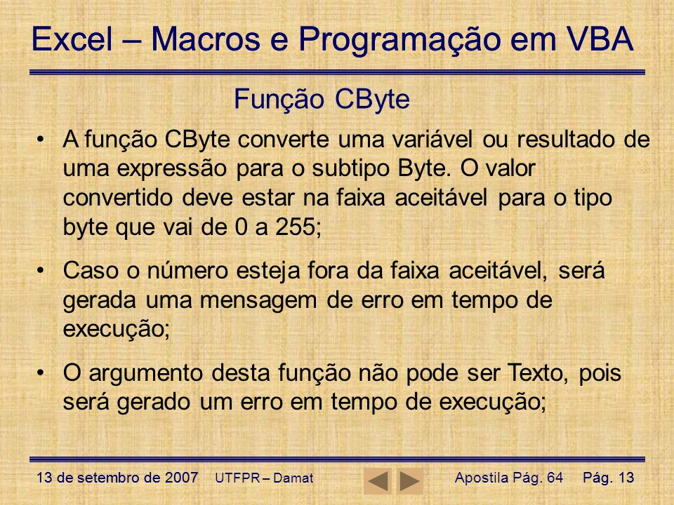 Função CByte