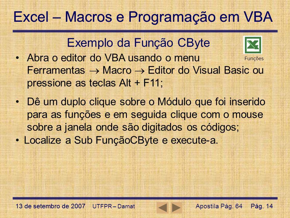 Exemplo da Função CByte