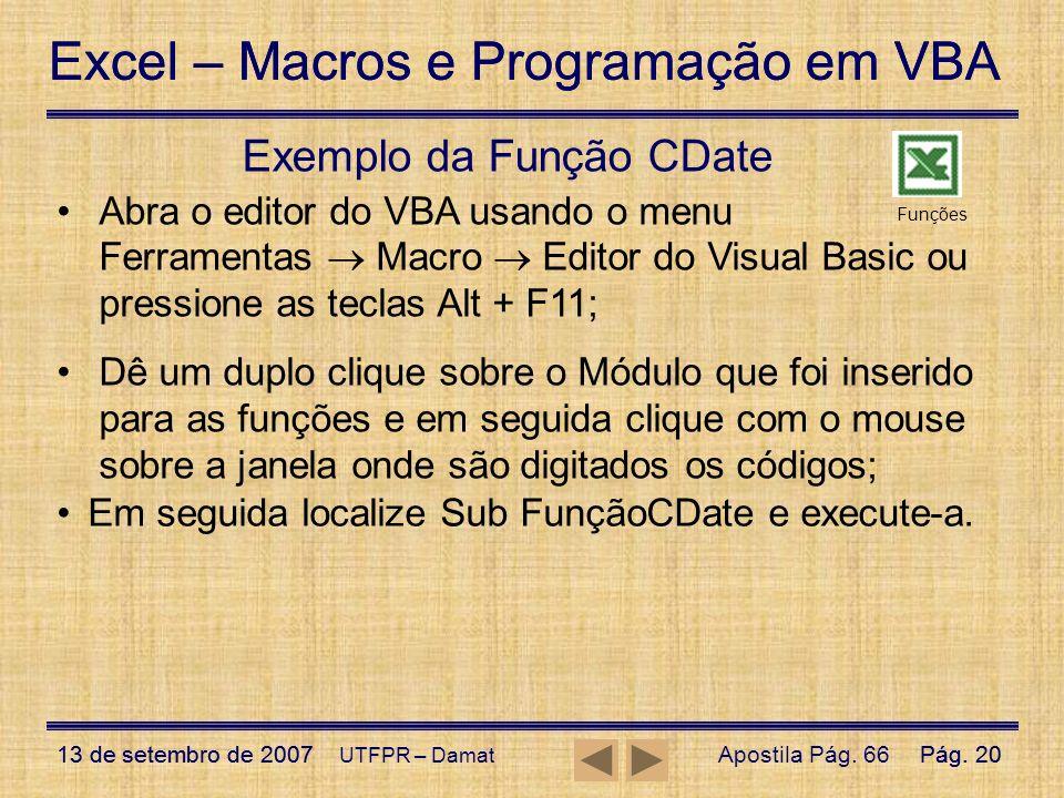 Exemplo da Função CDate