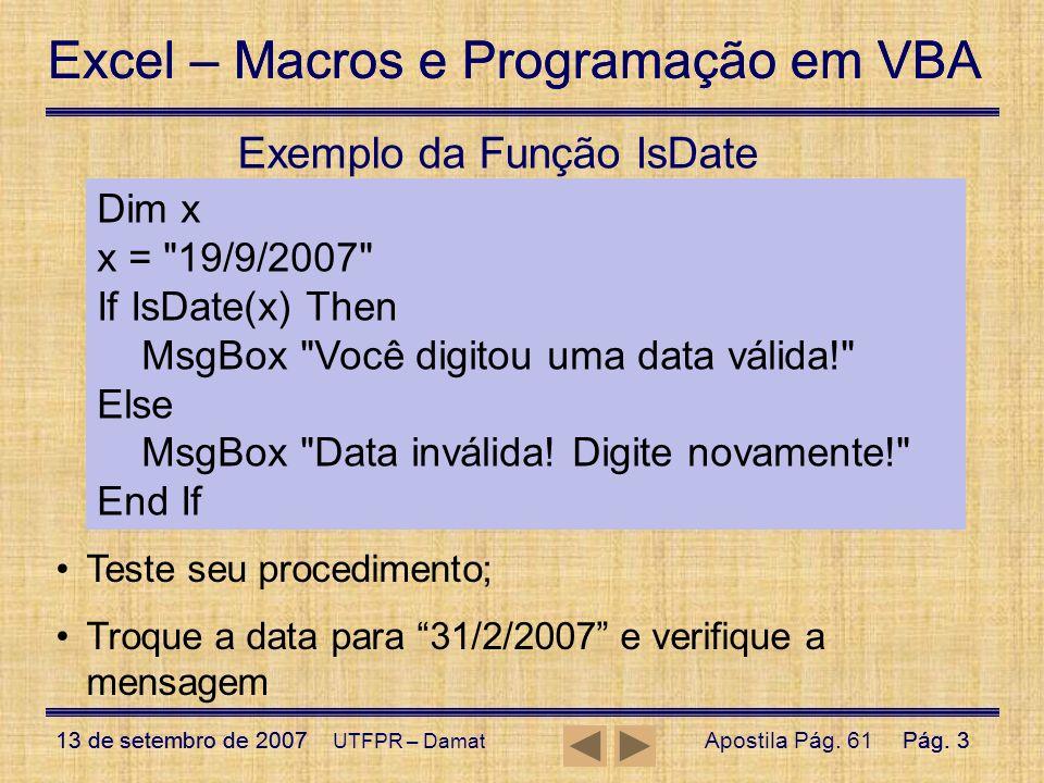 Exemplo da Função IsDate