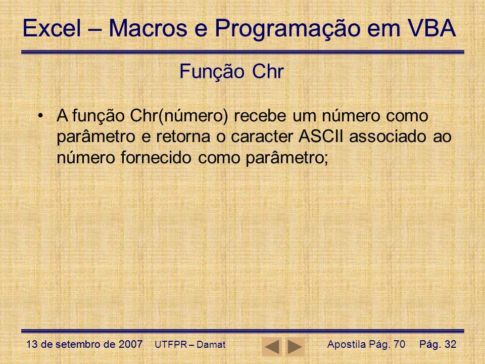 Função Chr A função Chr(número) recebe um número como parâmetro e retorna o caracter ASCII associado ao número fornecido como parâmetro;