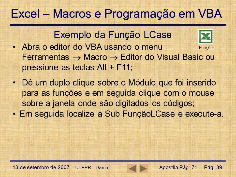 Exemplo da Função LCase
