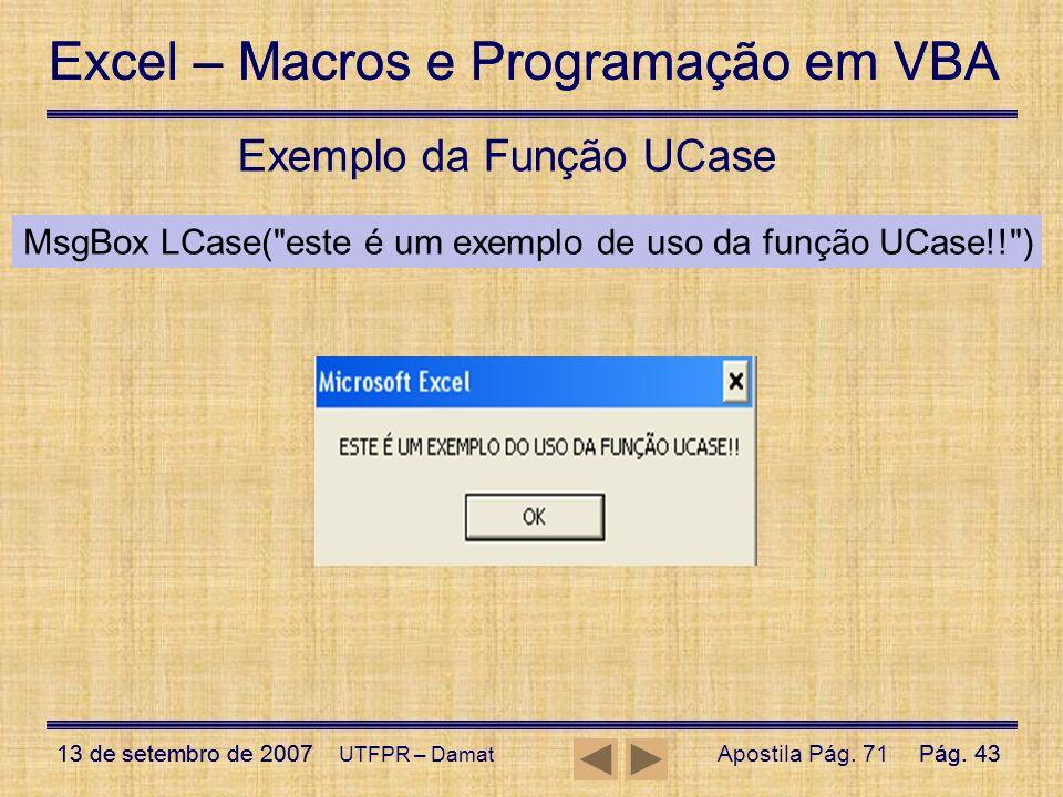 Exemplo da Função UCase