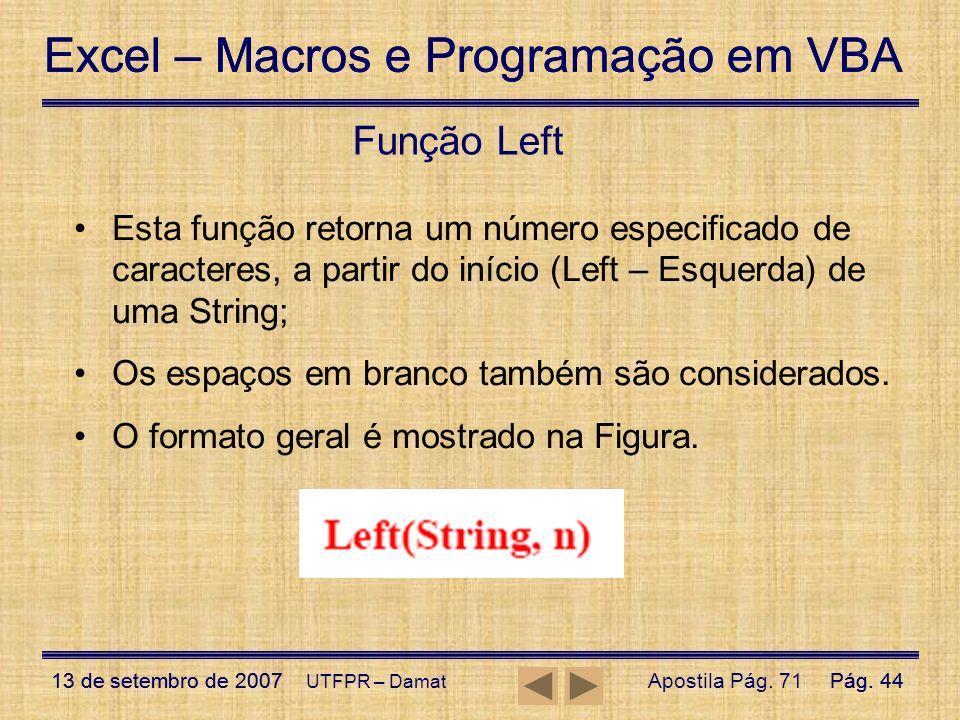 Função Left Esta função retorna um número especificado de caracteres, a partir do início (Left – Esquerda) de uma String;