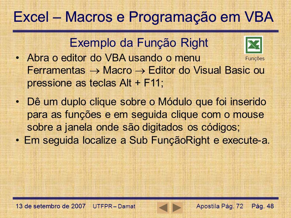 Exemplo da Função Right