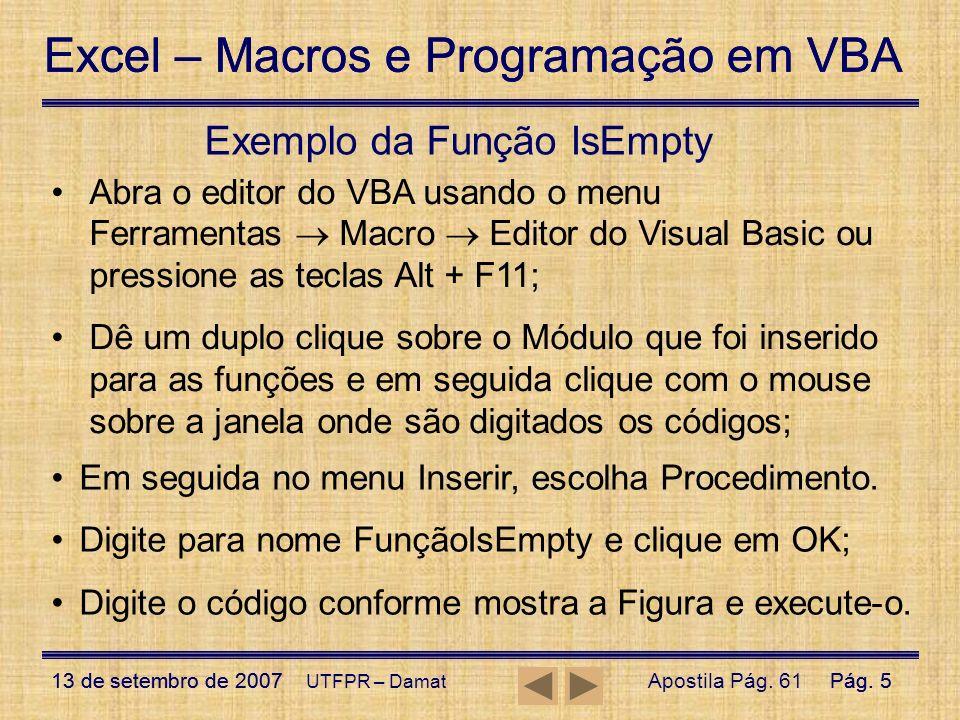 Exemplo da Função IsEmpty