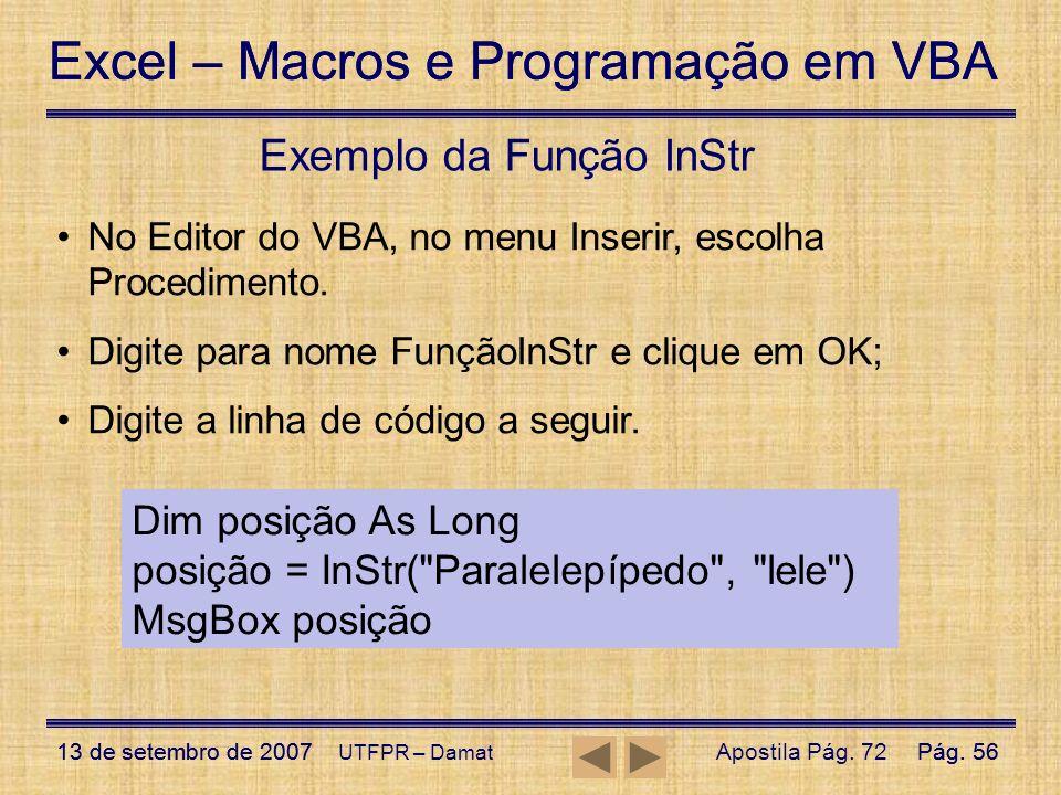 Exemplo da Função InStr