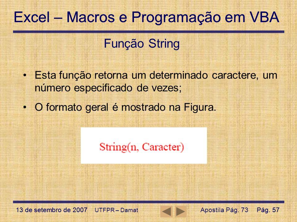 Função String Esta função retorna um determinado caractere, um número especificado de vezes; O formato geral é mostrado na Figura.