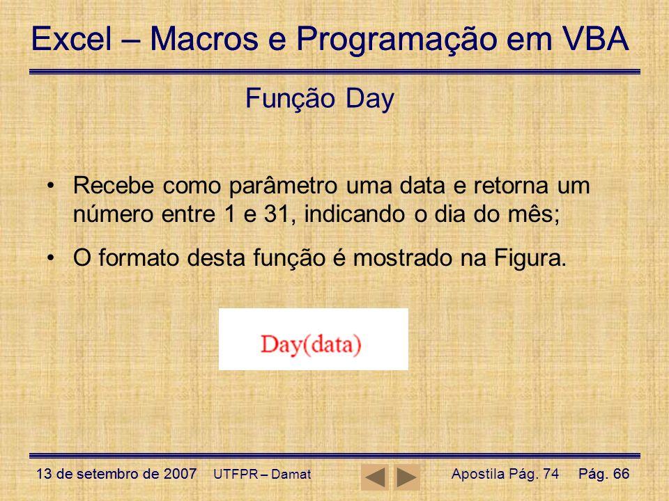 Função Day Recebe como parâmetro uma data e retorna um número entre 1 e 31, indicando o dia do mês;