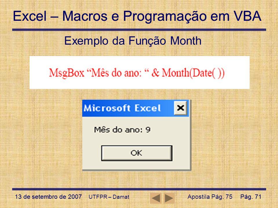 Exemplo da Função Month